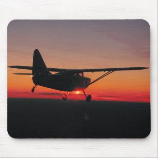 Cojín de ratón de la puesta del sol del aeroplano tapetes de ratones