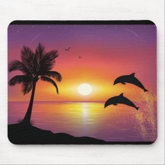 Cojín de ratón de la puesta del sol del delfín alfombrillas de ratones
