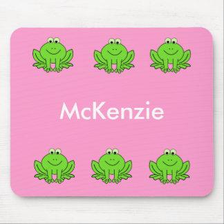 Cojín de ratón de la rana rosada y verde mousepads