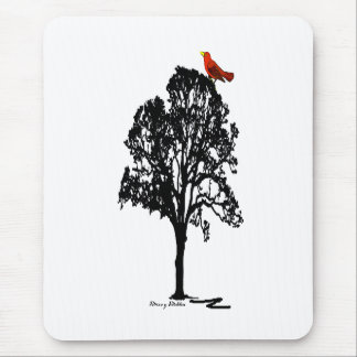 Cojín de ratón de la silueta del árbol tapetes de ratón