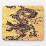 Cojín de ratón de la tapicería del dragón del vint tapetes de ratones