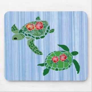 Cojín de ratón de la tortuga de mar de la flor del tapetes de raton