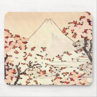Cojín de ratón de las flores de cerezo de Hokusai  Alfombrillas De Raton