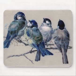 Cojín de ratón de los Bluebirds de París del vinta Alfombrillas De Ratones