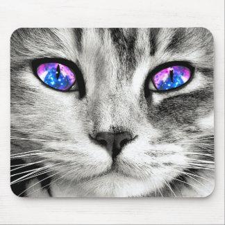 Cojín de ratón de los ojos de gato de la galaxia tapetes de raton
