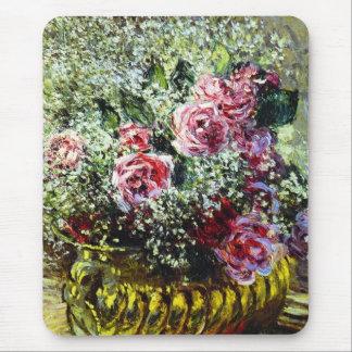 Cojín de ratón de los rosas de Monet Alfombrilla De Ratones