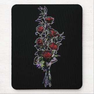 Cojín de ratón de los rosas del ramo que brilla mousepads