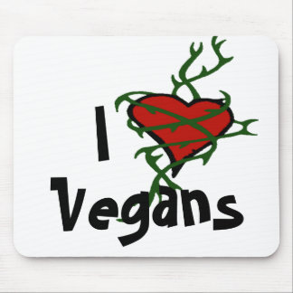 Cojín de ratón de los veganos del corazón tapete de raton
