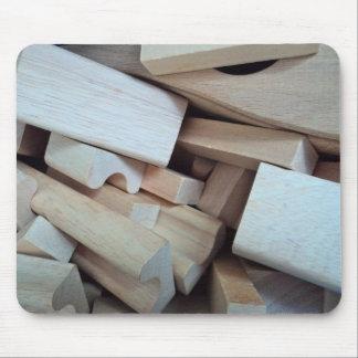 Cojín de ratón de madera de los bloques huecos tapete de ratón