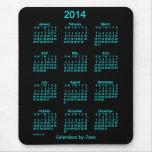 Cojín de ratón de neón del calendario del azul 201 alfombrilla de ratón