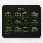 Cojín de ratón de neón del calendario del verde 20 tapete de ratones