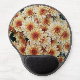 Cojín de ratón de oro del crisantemo de Brown Alfombrillas De Raton Con Gel