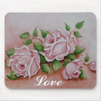Cojín de ratón de pintura subió vintage elegante l mouse pad