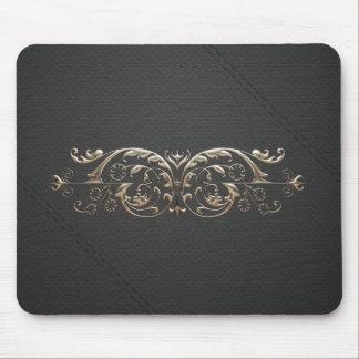 Cojín de ratón DE PLATA DE CUERO NEGRO de la Mouse Pad