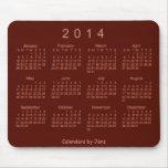 Cojín de ratón de rubíes del calendario del rojo 2 tapete de ratón