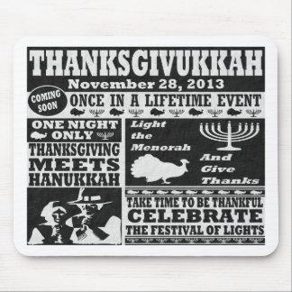 Cojín de ratón de Thanksgivukkah del vintage Tapetes De Ratones