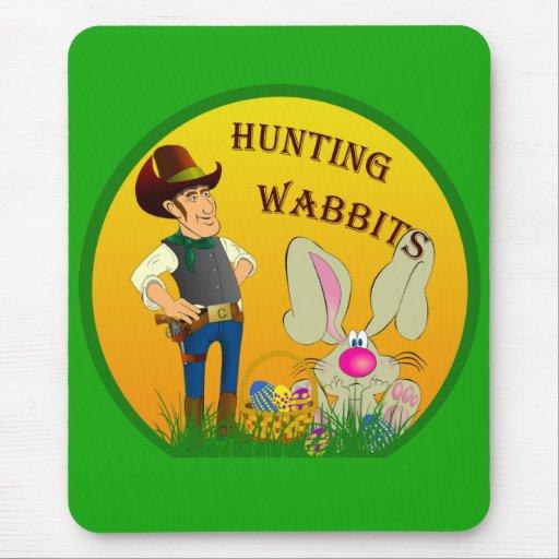Cojín de ratón de Wabbits Pascua de la caza Alfombrilla De Raton
