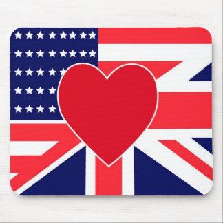 Cojín de ratón del amor de USA/UK Tapetes De Ratón