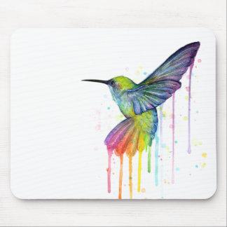 Cojín de ratón del arte de la acuarela del colibrí tapetes de ratón