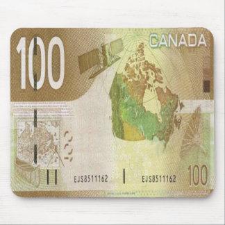 Cojín de ratón del billete de dólar de 100 canadie mousepad
