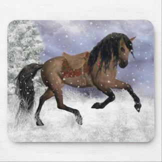 Cojín de ratón del caballo del invierno, estera de tapete de raton