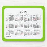 Cojín de ratón del calendario de 2014 días de fies tapetes de ratón