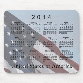 Cojín de ratón del calendario de la bandera americ alfombrillas de ratones