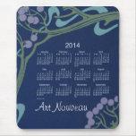 Cojín de ratón del calendario de Nouveau 2014 del  Alfombrillas De Ratón