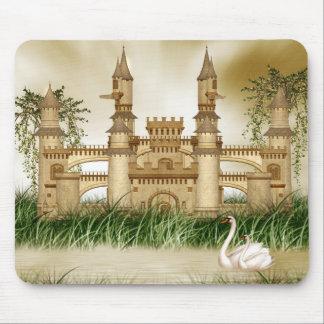 Cojín de ratón del castillo y de los cisnes alfombrillas de ratones
