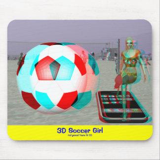 Cojín de ratón del chica del fútbol de la playa 3D Tapetes De Raton