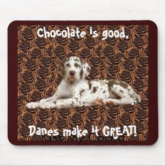 Cojín de ratón del chocolate de great dane tapetes de raton