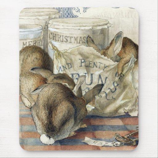 Cojín de ratón del conejo de las Felices Navidad Tapete De Raton