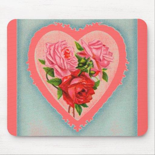 Cojín de ratón del corazón y de los rosas tapete de ratones