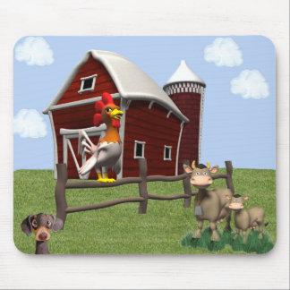 Cojín de ratón del corral con las vacas y el perro tapetes de ratones