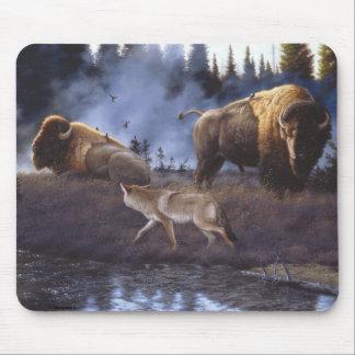 Cojín de ratón del coyote y del búfalo tapetes de raton