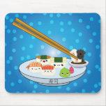 Cojín de ratón del disco del sushi de Kawaii Tapete De Ratón