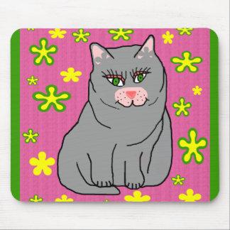 Cojín de ratón del gatito de la flor mouse pads