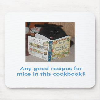 Cojín de ratón del gatito del libro de cocina tapetes de raton