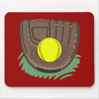 Cojín de ratón del guante del softball de Fastpitc Tapetes De Ratones