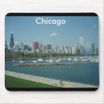 Cojín de ratón del horizonte de Chicago Tapetes De Raton
