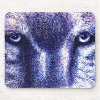 Cojín de ratón del lobo de los ojos azules alfombrillas de ratones