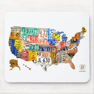 Cojín de ratón del mapa de la placa de Estados Uni Tapete De Ratones