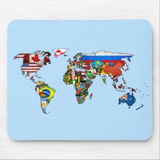 Cojín de ratón del mapa de las banderas del mundo alfombrillas de ratones