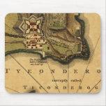 Cojín de ratón del mapa de Ticonderoga del fuerte