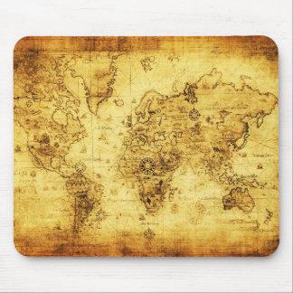 Cojín de ratón del mapa de Viejo Mundo del vintage Tapetes De Raton
