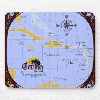 Cojín de ratón del mapa del Caribe Alfombrillas De Raton