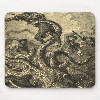 Cojín de ratón del monstruo de mar del calamar gig tapetes de raton