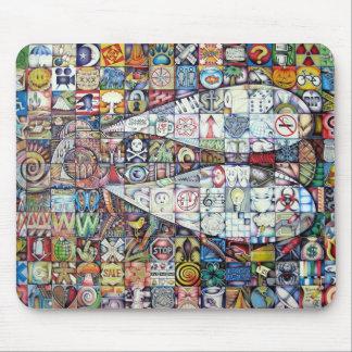 cojín de ratón del mosaico de la mosca tapete de ratones