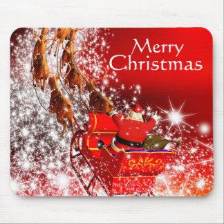 Cojín de ratón del navidad/Santa y trineo Tapetes De Raton