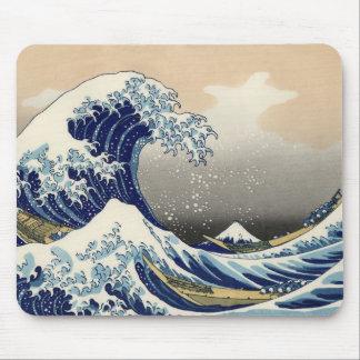 Cojín de ratón del tsunami de Ukiyo-e - de Hokusai Mousepads